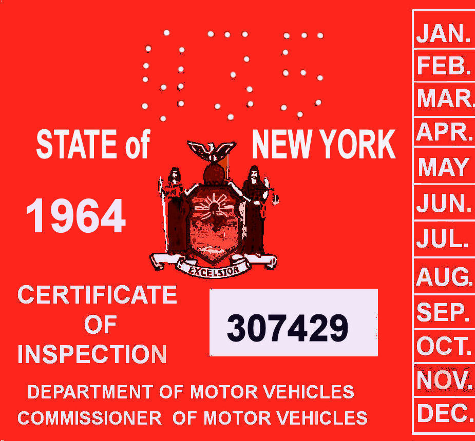 1964 New York INSPECTION Sticker